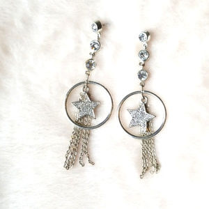 Jewelry - Silver Dangly Star Earrings